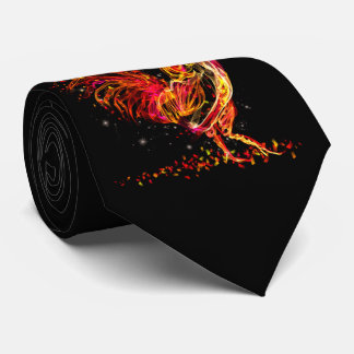 Fire rooster. Flaming animal sparkle cool design Tie