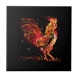 Fire rooster. Flaming animal sparkle cool design Tiles