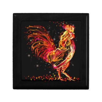 Fire rooster. Flaming animal sparkle cool design Trinket Box