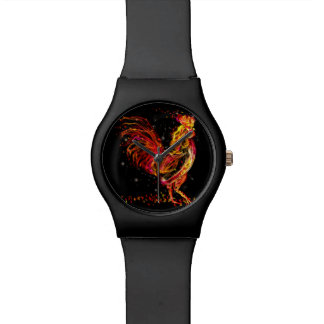Fire rooster. Flaming animal sparkle cool design Watch