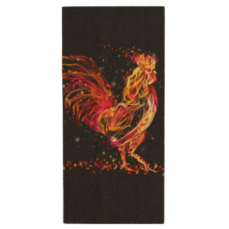 Fire rooster. Flaming animal sparkle cool design Wood USB 2.0 Flash Drive
