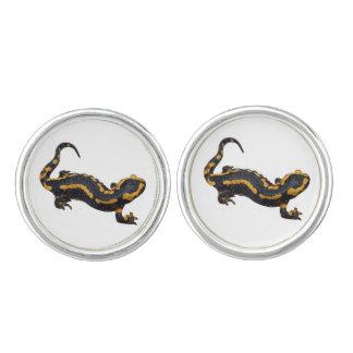 Fire Salamander Round Silver Plated Cufflinks