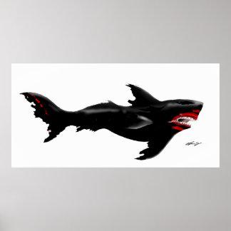 Fire Shark Blackened Poster