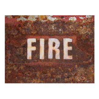 Fire sign on rusted steel plate. Gift for fireman? Postcard