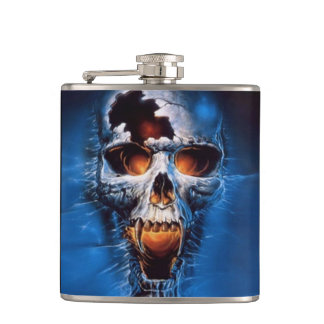 Fire Skull Vinyl Wrapped Flask