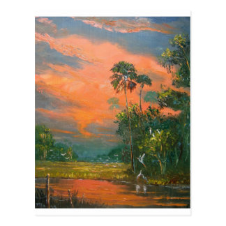 Fire Sky over the Pond Postcard