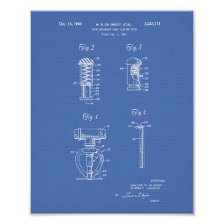 Fire Sprinkler Head 1965 Patent Art - Blueprint Poster