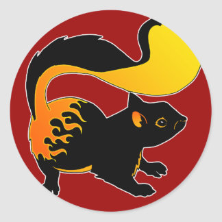 Fire Squirrel Classic Round Sticker