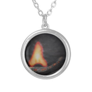 fire starter silver plated necklace
