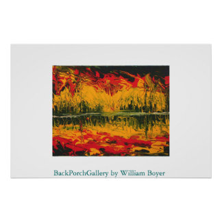 Fire Sunset Finger Painting Poster
