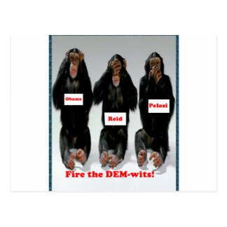 Fire the dem wits monkey postcard