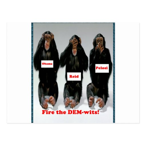 Fire the dem wits monkey post cards
