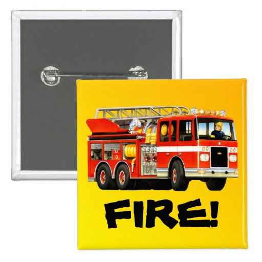 Fire Truck 2 Inch Square Button