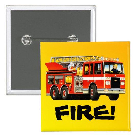 Fire Truck 2 Inch Square Button