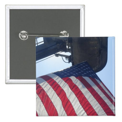 Fire Truck American Flag Aerial Tower Button
