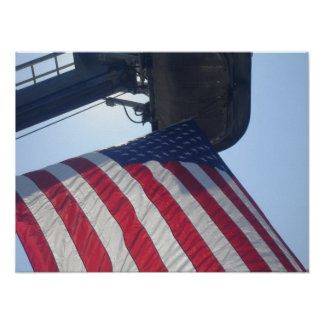 Fire Truck American Flag Aerial Tower Poster