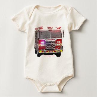 Fire_Truck_American_Flag Baby Bodysuit