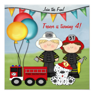 "Fire Truck and Little Fireman Birthday 5.25"" Square Invitation Card"