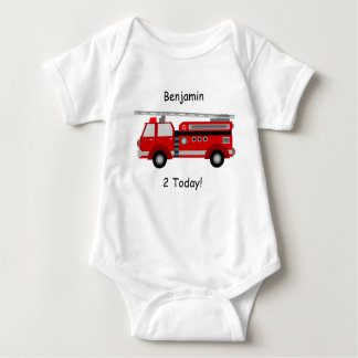 "Fire Truck Baby Vest ""2 Today"" With Name Baby Bodysuit"