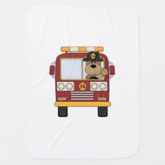 Fire Truck Bear Baby Blanket
