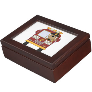 Fire Truck Bear Keepsake Boxes
