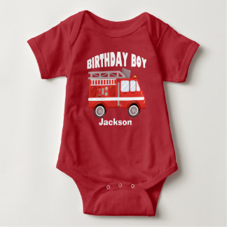 Fire Truck Birthday Boy Custom Baby Bodysuit