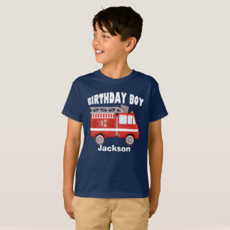 Fire Truck Birthday Boy Custom T-Shirt