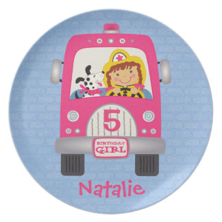 Fire Truck Birthday Girl Party Plates