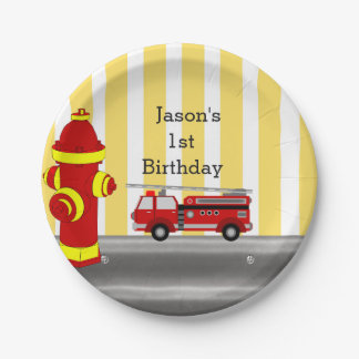 Fire truck birthday party 7 inch paper plate