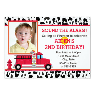 Fire Truck Birthday Party Invitation Photo Card