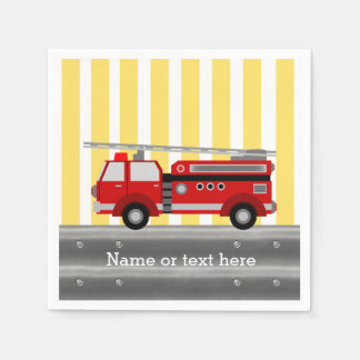 Fire truck birthday party napkin