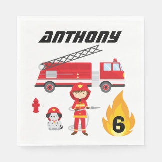 Fire Truck Birthday Party Napkins Disposable Napkins