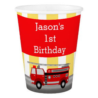 Fire truck birthday party paper cup