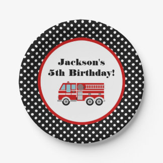 Fire Truck Birthday Party Personalized 7 Inch Paper Plate