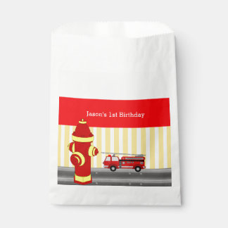Fire truck birthday party personalized favour bag