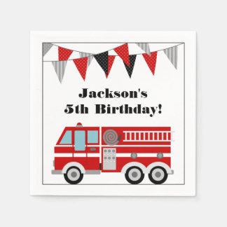 Fire Truck Birthday Party Personalized Paper Napkins