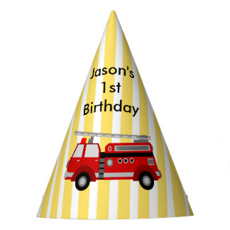 Fire truck birthday party personalized party hat