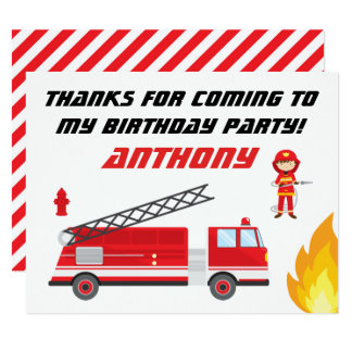 Fire Truck Birthday Party Thank You Cards
