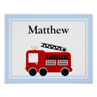 Fire Truck Blue Stripes Personalized Name Wall Art