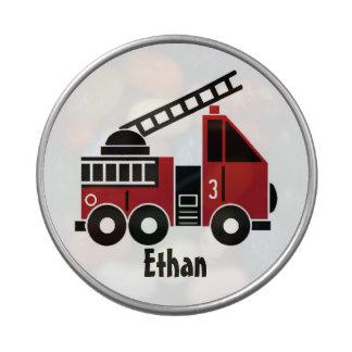Fire truck candy tin
