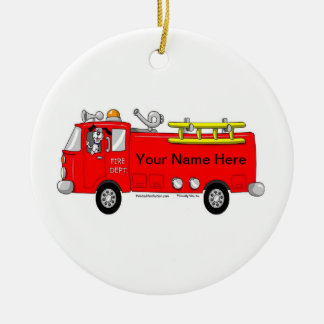 Fire Truck Ceramic Ornament