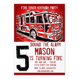 Fire Truck Engine Firefighter Birthday Invitations