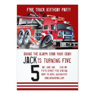 Fire Truck Firefighter Birthday Invitation