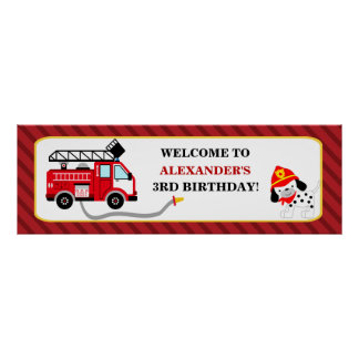 Fire Truck Firefighter Birthday Party Banner Poster