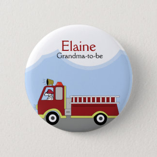 Fire Truck Firemen NAME TAG Custom Button