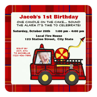 "Fire Truck First Birthday Plaid 5.25"" Square Invitation Card"