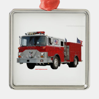 Fire_Truck_Flags Metal Ornament