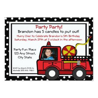 "Fire Truck Fun/ Photo 5"" X 7"" Invitation Card"