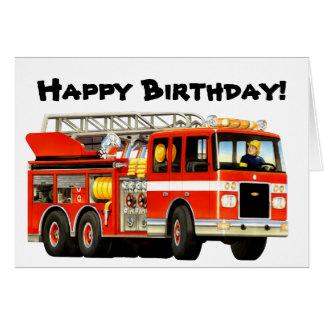 Fire Truck Happy Birthday Card