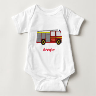 Fire Truck Just Add Name Baby Bodysuit